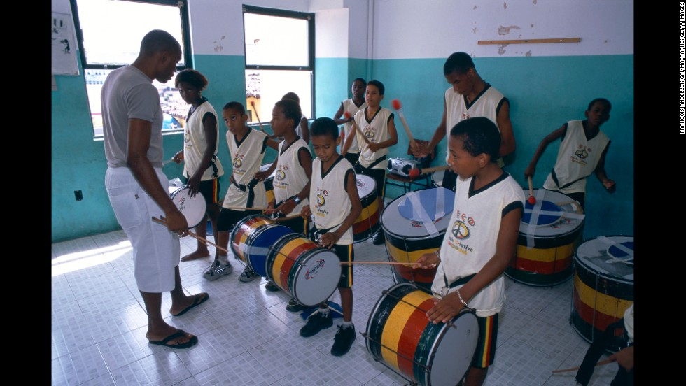"The Olodum cultural group and school of percussion is based in Salvador. ""From the time kids here are very young, they play drums,"" says Gabi Guedes, one of Bahia's top percussionists."