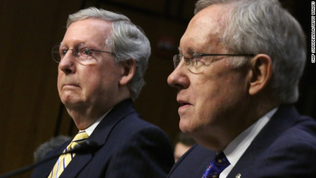 Senate leaders Harry Reid and Mitch McConnell square off over campaign finance. (Photo by Chip Somodevilla/Getty Images)