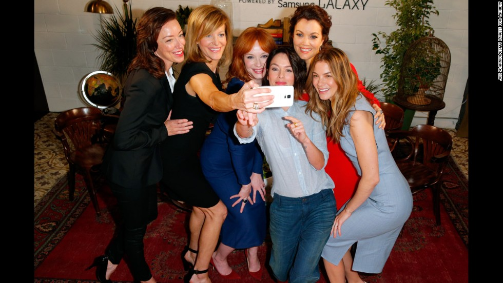 From left, actresses Molly Parker, Anna Gunn, Christina Hendricks, Lena Headey, Bellamy Young and Michelle Monaghan take a selfie together Thursday, May 29, at the Variety Studio event powered by Samsung Galaxy in West Hollywood, California.