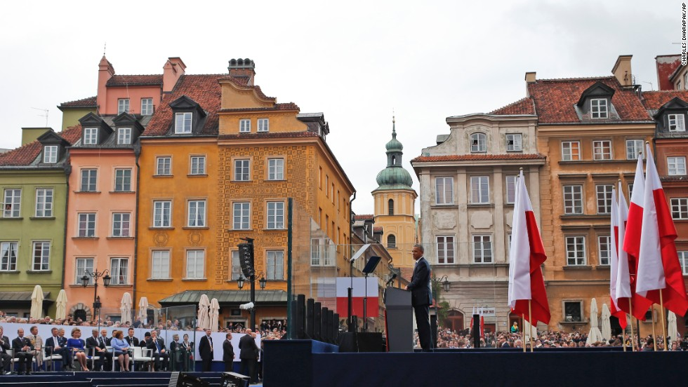 "Obama speaks at the 25th anniversary celebrations in Warsaw on June 4. Poland's historic election, led by the Solidarity movement in 1989, ""was the beginning of the end of communism -- in this country and across Europe,"" Obama said."