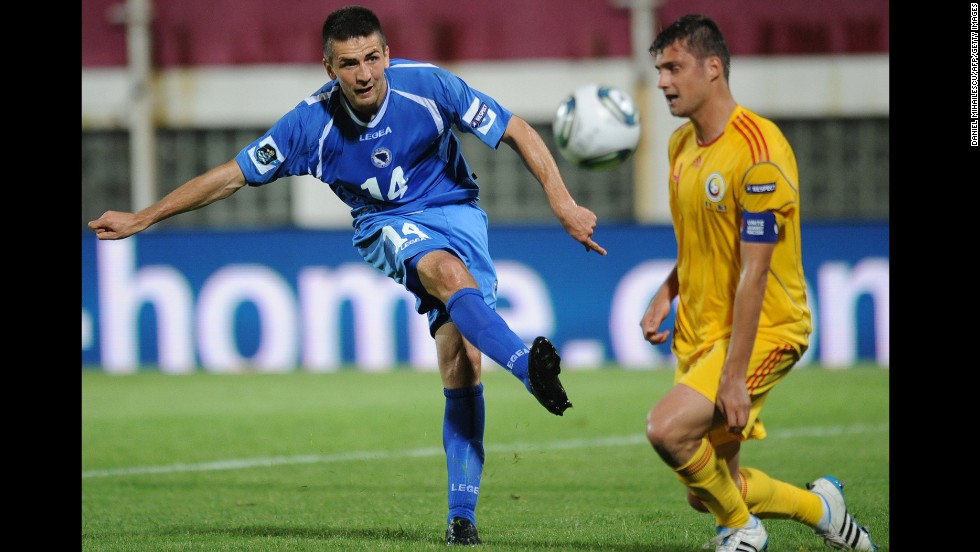 <strong>Vedad Ibisevic (Bosnia and Herzegovina):</strong> An ex-NCAA freshman of the year with Saint Louis University, Ibisevic, left, served stints in the lower leagues of France and Germany before entering the Bundesliga. Since joining Stuttgart in 2012, he's bagged 33 goals, and he has 20 goals in 51 caps for the national team. Big at 6-foot-2 and 180 pounds, defenders will surely look to keep him and fellow goalhound Edin Dzeko away from goal.