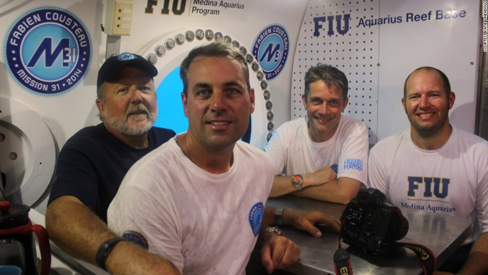 The crew, from left: mission specialist Mark Hulsbeck, photographer Kip Evans, Fabien Cousteau and mission specialist Ryan LaPete.