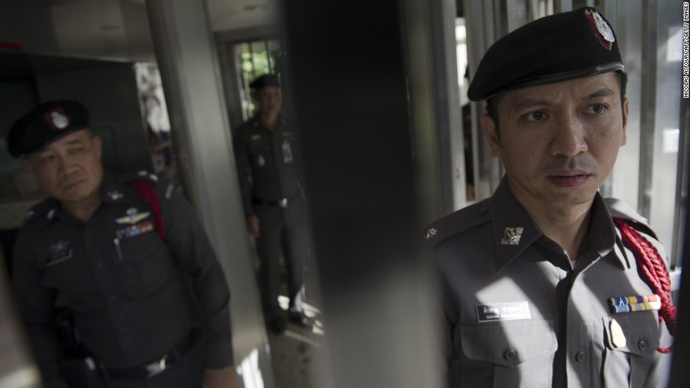 Police secure an area inside the Australian Embassy in Bangkok on Wednesday, June 4.