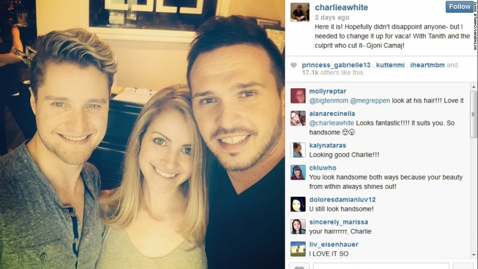 """Do you recognize the guy on the left? That's figure skater Charlie White, whose face you might not pick up on without its signature cloud of fluffy hair. The Olympic champ debuted his shorter locks on June 2. """"Hopefully didn't disappoint anyone- but I needed to change it up for vaca!"""" he posted on Instagram."""
