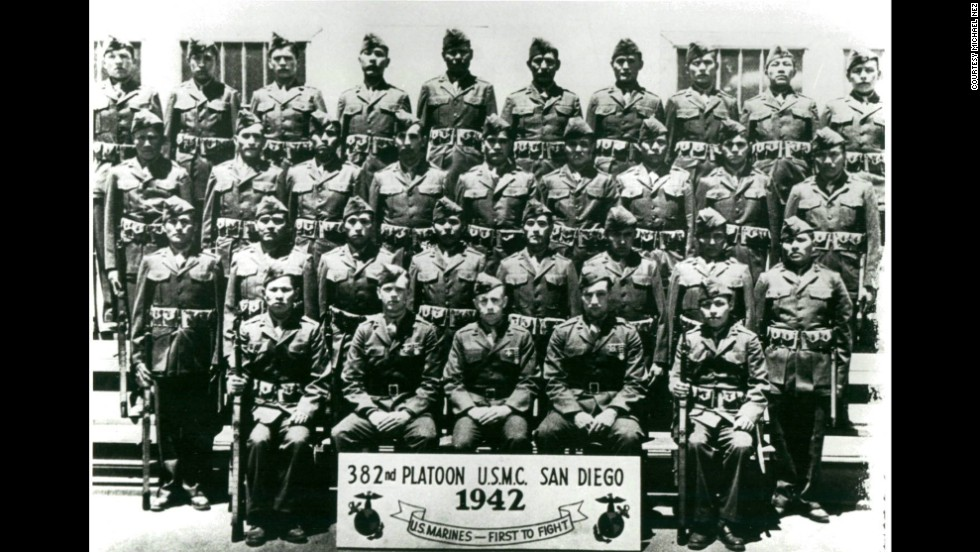 Nez, standing front left, poses for a portrait with the first group of Navajo code talkers in San Diego in 1942.