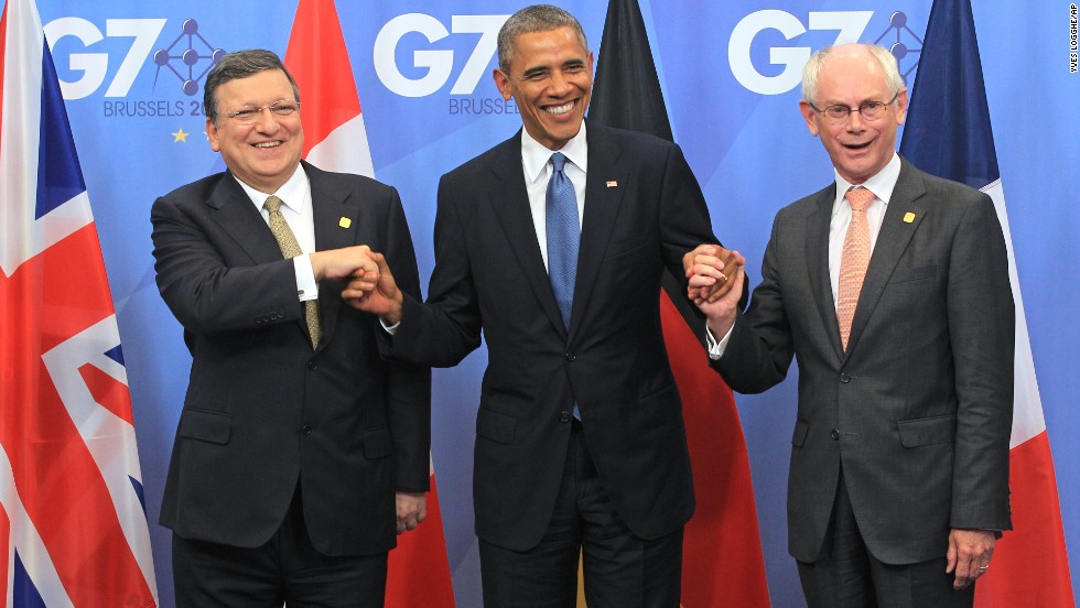 European Commission President Jose Manuel Barroso, left, and European Council President Herman Van Rompuy welcome Obama at the G7 meeting in Brussels on Wednesday, June 4.