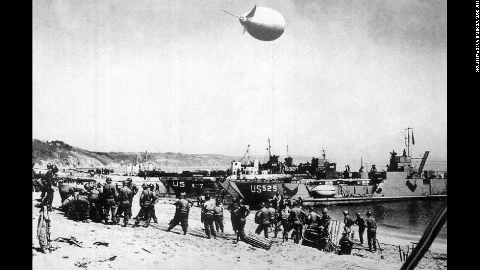 Troops prepare for Exercise Tiger at Slapton Sands in England in April 1944.