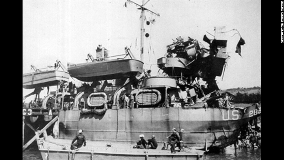 LST 289 was hit by a torpedo during Exercise Tiger. The ship eventually made it back to shore.
