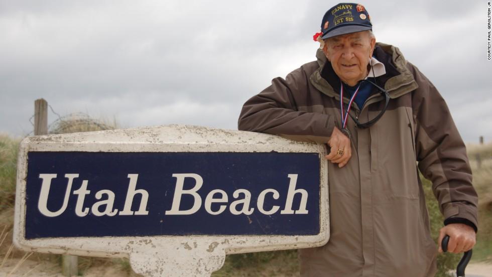 Paul Gerolstein visits Utah Beach in 2009. He hadn't been back since 1944.