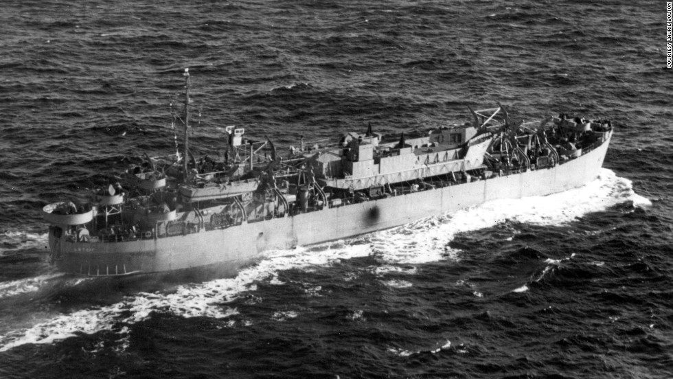 LST 507 sank after being hit by a German torpedo.