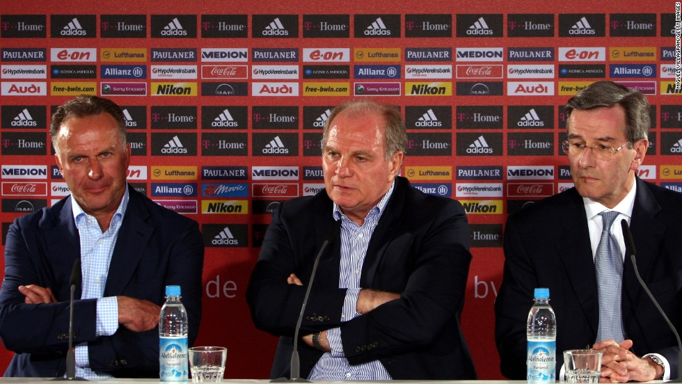 Klinsmann didn't last one season at Bayern, and was fired in April 2009 and replaced by Jupp Heynckes. Here Bayern CEO Karl-Heinz Rummenigge (left) addresses the media with club manager Uli Hoeness and fellow executive Karl Hopfner (right).
