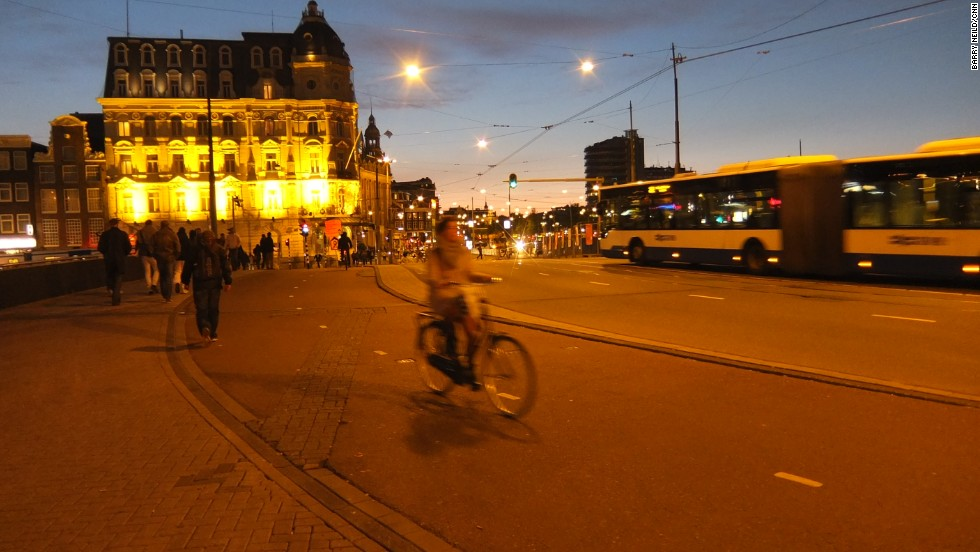 "Night cyclists are required by law to use lights. Drinking and cycling is illegal. But ""after dark, assume everyone on a bike is drunk,"" jokes student Stephanie Shaffer."