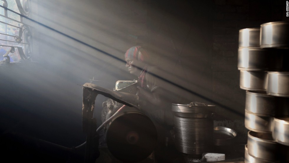A man works at a metal factory in Dhaka, Bangladesh, on Thursday, June 5.