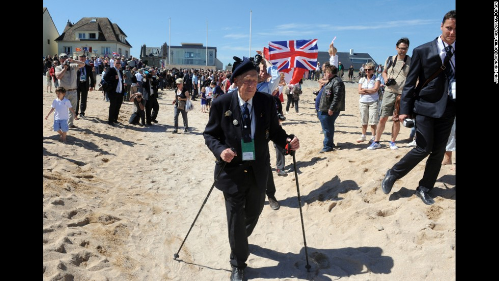 A Norwegian World War II veteran arrives for a joint French-Norwegian D-Day ceremony in Hermanville-sur-Mer, France.