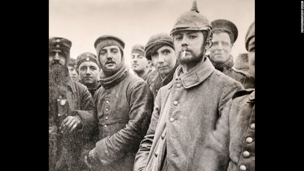 German and British troops are seen together during the Christmas Truce of 1914.