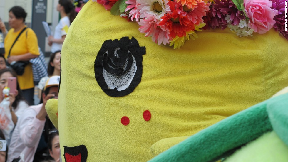 "Unlike other mascots who are calm and quiet, Funassyi's is loud and energetic. He talks and sings in a high-pitched voice, ending his sentences with his catch phrase, ""nashiii!"""