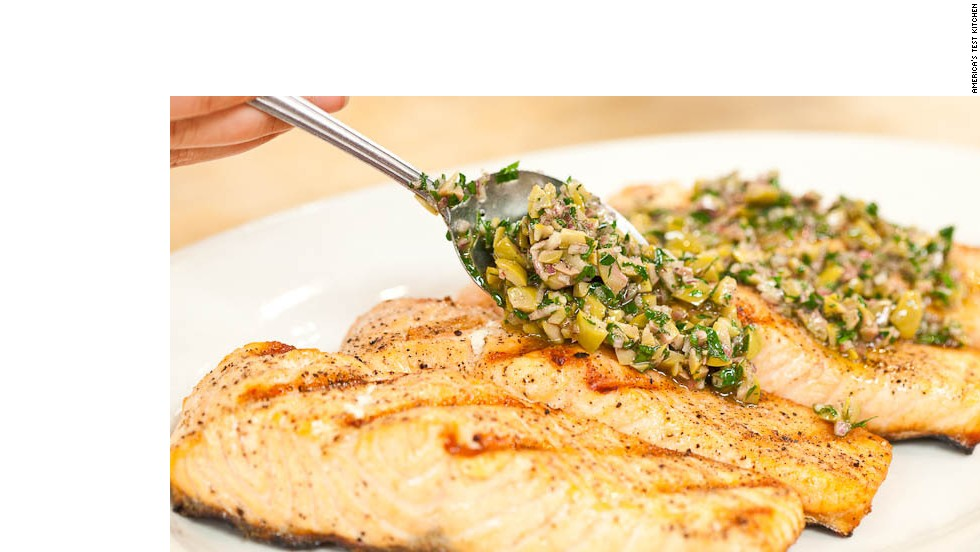 This grilled fish recipe works best with salmon fillets but can also work with any thick, firm-fleshed white fish, like red snapper, grouper, halibut or sea bass.