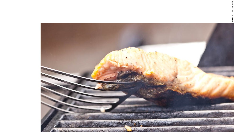 Try lifting the fish gently with a spatula after 2 minutes; if it doesn't cleanly lift off grill, continue to cook, checking at 30-second intervals, until it releases.