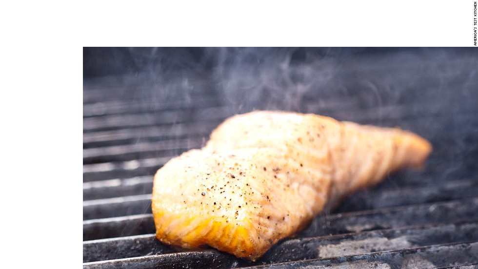Reduce the heat to medium. Cover the grill and cook without moving the fish until the skin is brown, well-marked and crisp, about 2 to 4 minutes.