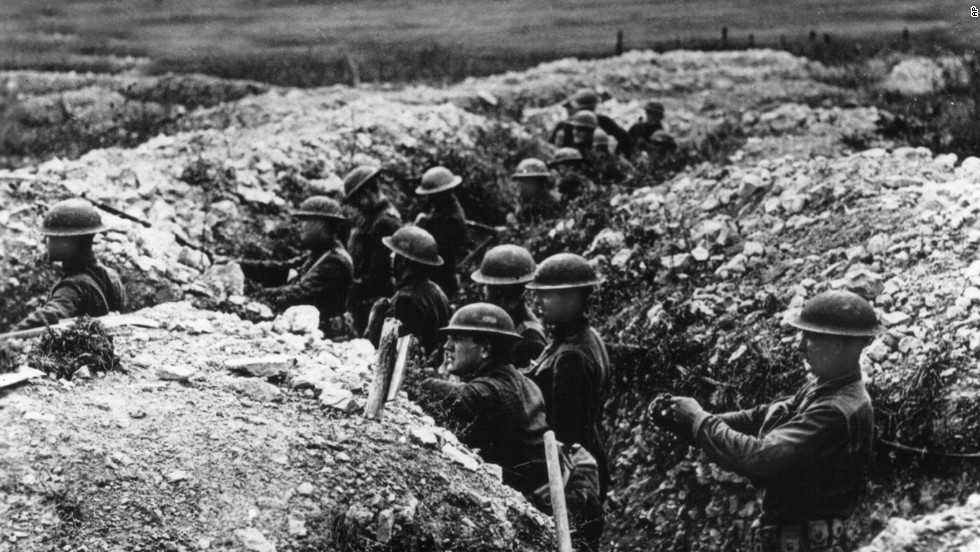 U.S. Army troops stand in a defensive trench in France. By war's end, thousands of miles of trenches crisscrossed European battlefields.