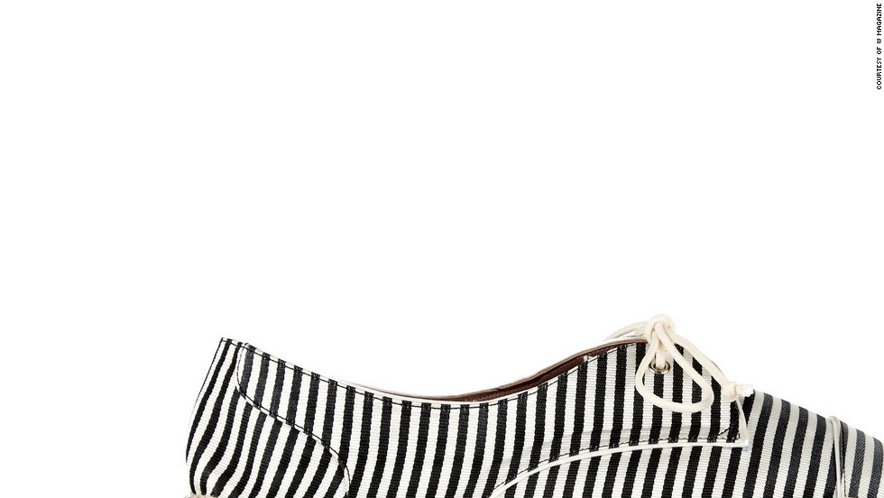 """Espadrilles are a chic, practical alternative to sandals—and they remind me of Jane Birkin. Tabitha Simmons Dolly striped silk espadrilles, <a href=""""netaporter.com"""" target=""""_blank"""">netaporter.com</a>"""