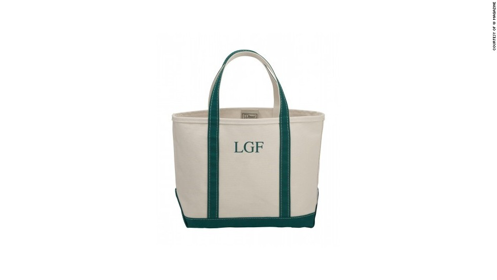 "For a true Southern weekend, carry a classic, monogrammed tote bag. L.L. Bean monogrammed boat and tote bag, <a href=""llbean.com"" target=""_blank"">llbean.com</a>."