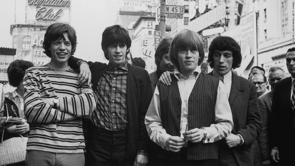 "The Rolling Stones take over New York -- from left, Mick Jagger, Keith Richards, Charlie Watts, Brian Jones and Bill Wyman. ""(I Can't Get No) Satisfaction"" was their first No. 1 U.S. hit."
