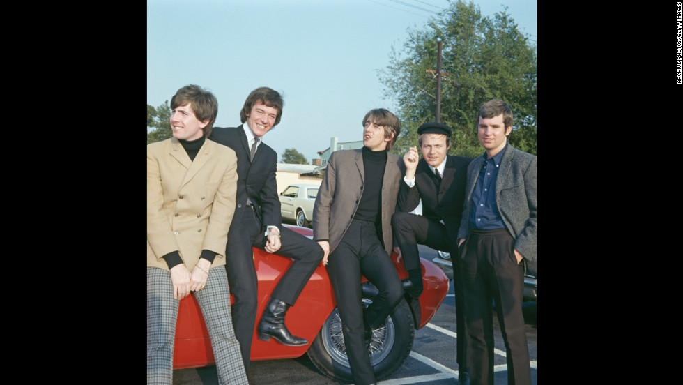 """Members of the English rock group The Hollies visit Hollywood in 1966. Graham Nash, from left, Allan Clarke, Tony Hicks, Bobby Elliott and Eric Haydock sang songs like """"Bus Stop"""" and """"Just One Look."""" Nash later formed Crosby, Stills and Nash."""