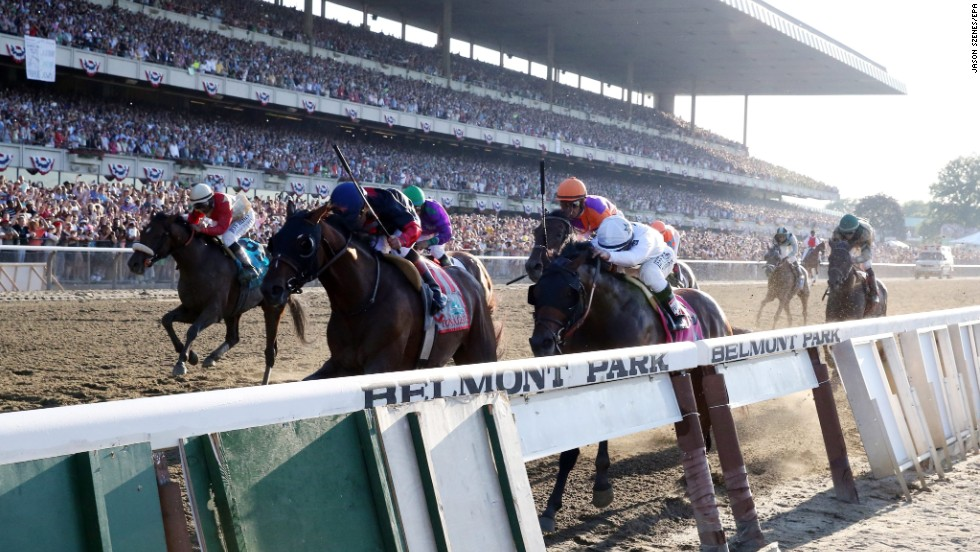 The horses approach the finish line.