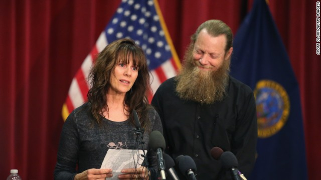 BOISE, ID - JUNE 01: Bob Bergdahl listens as his wife Jani reads a message to their son Sgt. Bowe Bergdahl during a press conference at Gouen Field national guard training facility on June 1, 2014 in Boise, Idaho. Sgt. Bergdahl who was captured in 2009 while serving with U.S. Armys 501st Parachute Infantry Regiment in Paktika Province, Afghanistan was released yesterday after a swap for Taliban prisoners. Bergdahl was considered the only U.S. prisoner of war held in Afghanistan. (Photo by Scott Olson/Getty Images)
