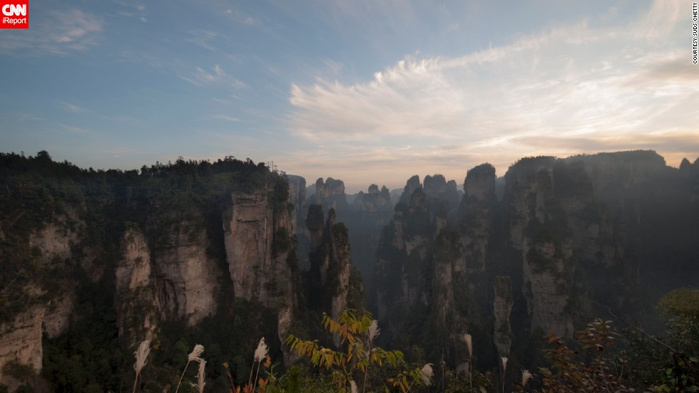 "<a href=""http://ireport.cnn.com/docs/DOC-767082"">Suds Chetty</a> says one of the most beautiful places he has visited is China's <a href=""http://www.zhangjiajietourism.us/"" target=""_blank"">Zhangjiajie National Forest Park</a>. Located in the Hunan Province, the park's most notable feature is the pillar-like rock formations that are the result of erosion caused by the moist weather."
