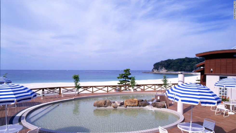 Shirahama's open-air beachside onsen -- swimsuits permitted -- is a nice way to warm up post swim.