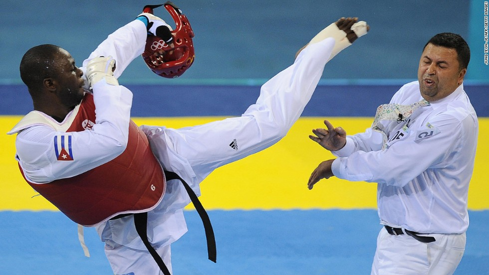 <strong>Angel Matos:</strong> Disqualified during the bronze-medal match in the 2008 Olympics, the Cuban taekwondo star was miffed. No one saw what was coming next -- certainly not referee Chakir Chelbat. Matos walked in front of Chelbat and delivered a vicious roundhouse kick to his head, leaving blood pouring from the Swedish ref's lip. It was Matos' last sanctioned match, as he was promptly banned for life.