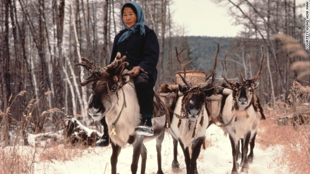 A reindeer herder on China's northeastern border with Russia.