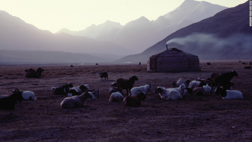 A Tajik nomadic yurt near the border of Afghanistan. Though long associated with Mongolia, yurts are also used by nomads in the steppes of Central Asia.
