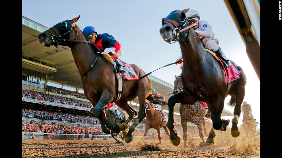 Joel Rosario rides Tonalist, left, to victory in the Belmont, edging out Javier Castellano and Commissioner, right.