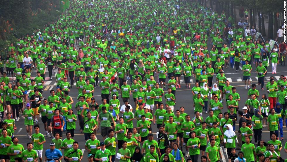 Runners participate in the Jakarta International 10K in Jakarta, Indonesia, on Sunday, June 8.