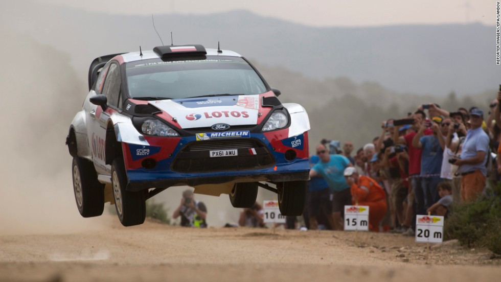 Robert Kubica's Ford Fiesta RS catches some air Friday, June 6, on day two of the Rally Italia Sardegna, the Italian event of the World Rally Championship. Kubica finished eighth in the race, which was won by Volkswagen's Sebastien Ogier.