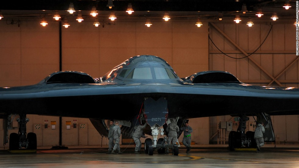 Maintainers and crew chiefs prepare a B-2 at Whiteman Air Force Base in Missouri in March 2011. There are only 20 B-2s in the Air Force fleet. All are based at Whiteman in the 509th Bomb Wing.