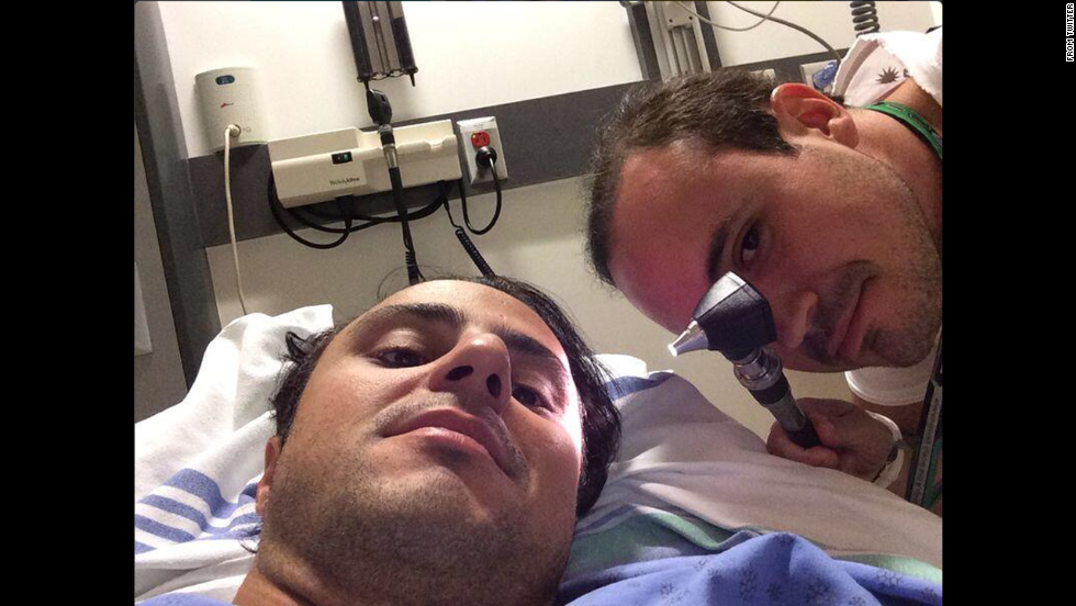 "Formula One driver Felipe Massa, who was injured in a high-speed crash on the last lap of the Canadian Grand Prix, <a href=""https://twitter.com/MassaFelipe19/status/476248263415578624/photo/1"" target=""_blank"">tweeted a photo</a> from his hospital bed on Monday, June 9. ""We need to find the way to smile even on the difficult day,"" he said."