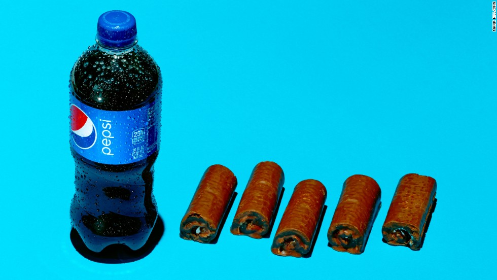 <strong>Soda: Pepsi.</strong><br />A 20-ounce bottle of Pepsi contains 69 grams of sugar. Each Little Debbie Swiss Roll contains an estimated 13 grams of sugar.