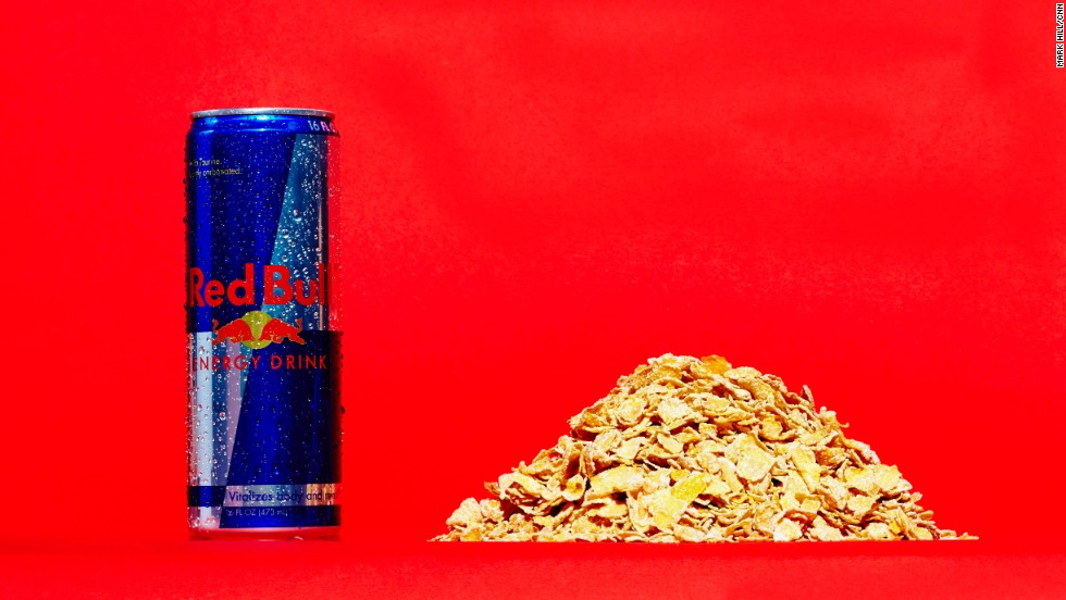 <strong>Energy drink: Red Bull. </strong><br />Three-quarters of a cup of generic brand frosted flakes contains about 11 grams of sugar. This 16-ounce can of Red Bull has 52 grams of sugar.