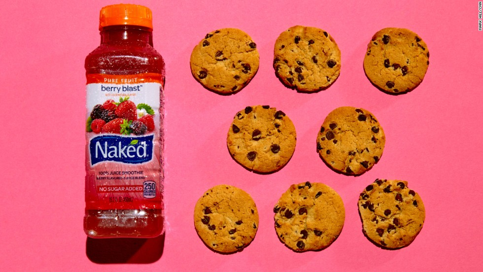 <strong>Juice smoothie: Naked Berry Blast.</strong><br />The 15.2-ounce bottle of Naked Berry Blast has 29 grams of sugar. Each of these eight Chips Ahoy! cookies contains about 3.6 grams of sugar. <br />