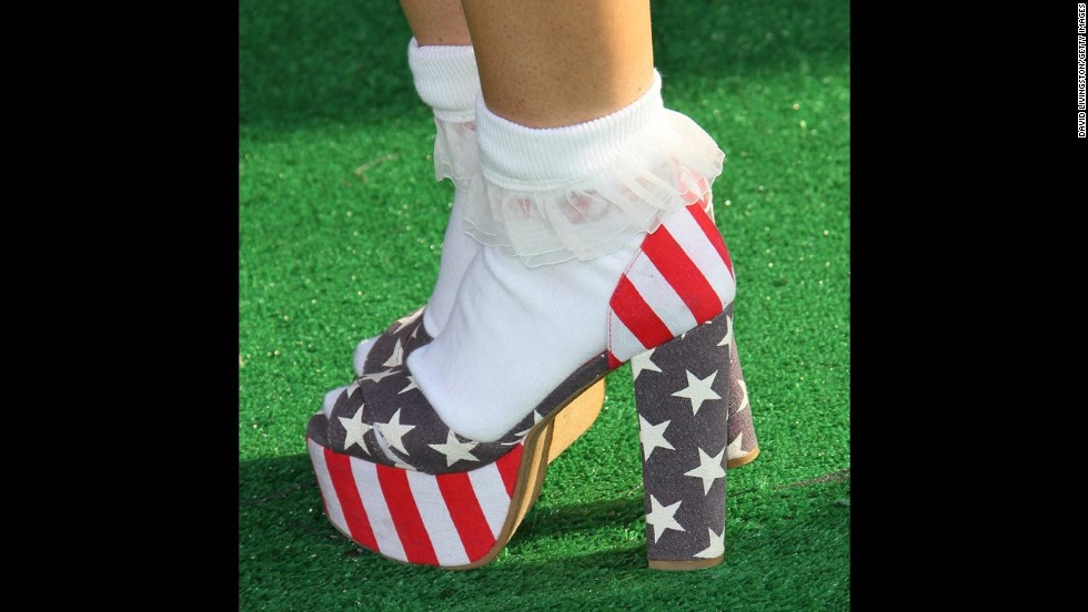 Actress Jennifer Veal wears heeled shoes that resemble the American flag at the Cartoon Network's Hall of Game Awards in 2012. Flag Day, June 14, celebrates the adoption of the U.S. flag. To mark the occasion, we take a look at how others have worn the stars and stripes in creative ways.