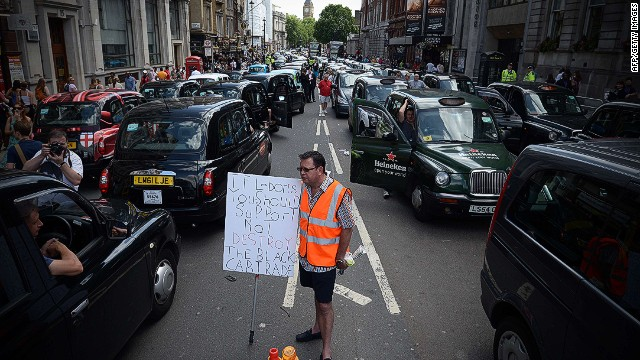 London cabbies shut city down over Uber