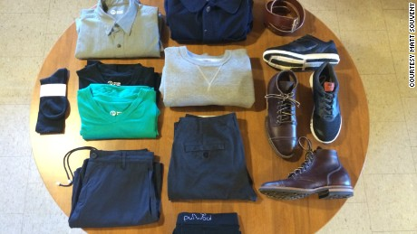 Matt Souveny has pledged to pare down his wradrobe to 10 items for a year, excluding socks, underwear and outerwear.
