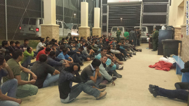 Another photo released by Rep. Cuellar's office shows immigrants housed at a crowded Customs and Border Protection detention facility a in South Texas.