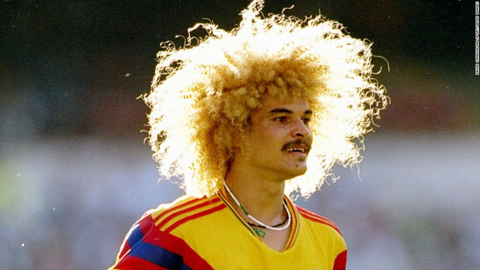 When it comes to hairstyles, no footballer has ever done more for the popularity of the afro than Carlos Valderrama. The elegant playmaker appeared for Colombia at three World Cups (in 1990, 1994 and 1998) and made over 100 appearances for his country, but he will forever be remembered for the nest of peroxide blonde curls which sat atop his moustachioed face.