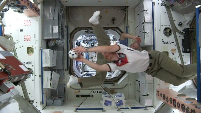 Watch astronauts play football in space
