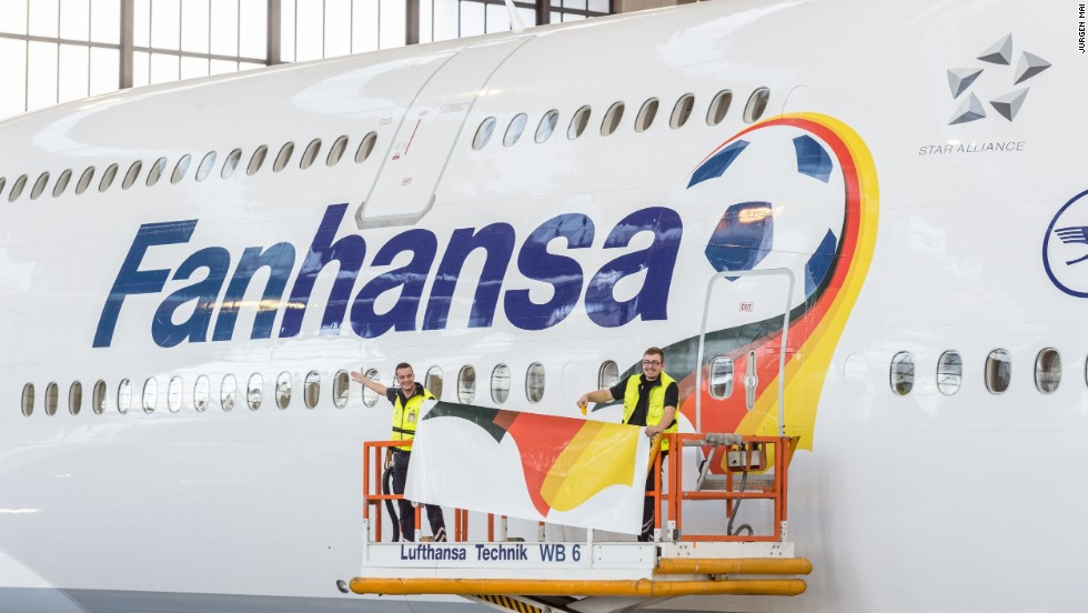 "Lufthansa has renamed eight of its planes ""Fanhansa"" and added a football and German flag motif. The team -- 6/1 to become champions behind only Brazil and Argentina -- is being flown on an Airbus A340."